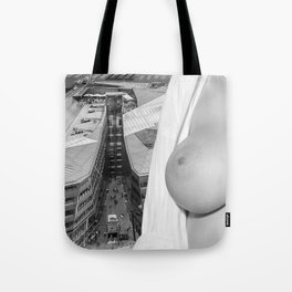 Enjoying the views. Nude woman over the city of London Tote Bag