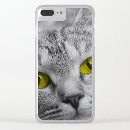 Cat with Piercing Yellow Eyes Clear iPhone Case