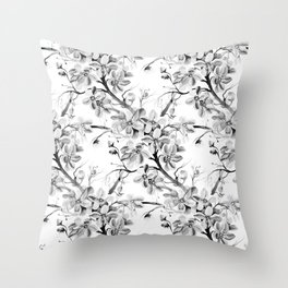 Black and White Pattern of Japanese Cherry Tree Flowers Watercolor Illustration Throw Pillow