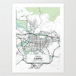Taipei Taiwan City Map with GPS Coordinates Art Print