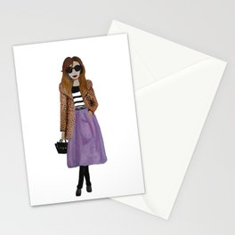 Fashion Illustration 'Lila' leopard coat outfit Stationery Cards