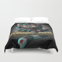 gore Duvet Covers featuring Chesire cat gore by trevacristina
