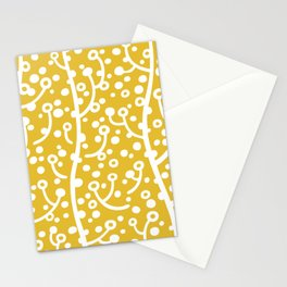 Mid Century Modern Spring Blossoms Mustard Yellow Stationery Cards