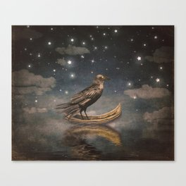 Crow in a boat at the river magical night Canvas Print