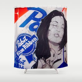 pabst blue ribbon robot lady Shower Curtain