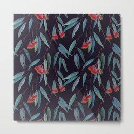 Eucalyptus leaves and flowers on dark violet Metal Print