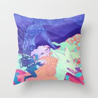 mononoke Throw Pillows featuring Mononoke Hime by Jen Bartel