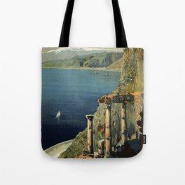 Vintage Taormina Sicily Italian travel ad Tote Bag