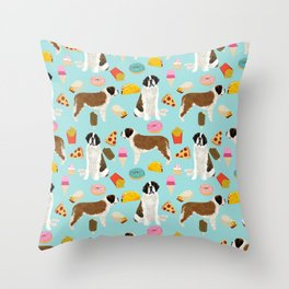 St. Bernard junk food fast food french fries dog breed pattern cute pet gifts Throw Pillow
