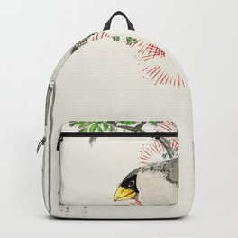japanese masked hawfinch and silk tree illustration 42476327095 Backpack