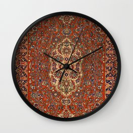 Persia Isfahan 19th Century Authentic Colorful Red Blue Tan Vintage Patterns Wall Clock