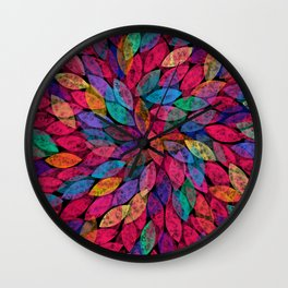 Abstract Colorful leaves III Wall Clock