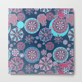 Circles of Flower Blue and Pink Metal Print