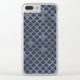Elegant Gold and Blue Scales Clear iPhone Case