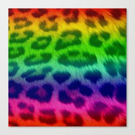 Rainbow Leopard Print Pattern Design Canvas Print