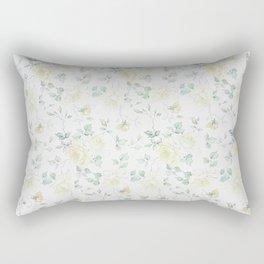 Bohemian baby yellow green vintage roses floral Rectangular Pillow