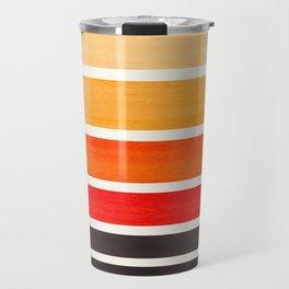 Orange Minimalist Watercolor Mid Century Staggered Stripes Rothko Color Block Geometric Art Travel Mug