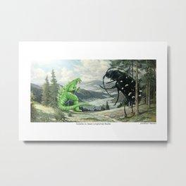 Godzilla vs. Asianlonghorned Beetle Metal Print