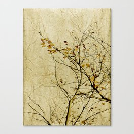 Nature Floral Print Collage in Warm Tones Canvas Print