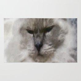 White Persian Cat In Watercolor Rug