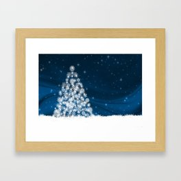 Blue Christmas Eve Snowflakes Winter Holiday Framed Art Print
