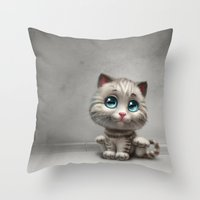 kitten Throw Pillows featuring Kitten by Antracit