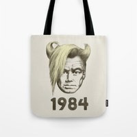 1984 Tote Bags featuring 1984 by Eric Fan
