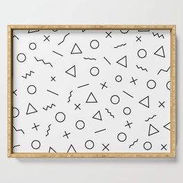 Memphis Geometry ((black on white)) Serving Tray
