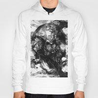 psychadelic Hoodies featuring Black and White Psychadelic skull print  by Mermaid Seawolf