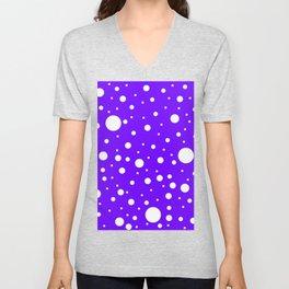Mixed Polka Dots - White on Indigo Violet Unisex V-Neck