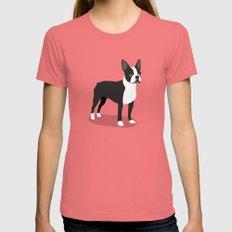 Boston Terrier 2 Pomegranate Womens Fitted Tee MEDIUM