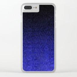Blue & Black Glitter Gradient Clear iPhone Case