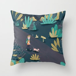 Walks down the midnight towpath Throw Pillow