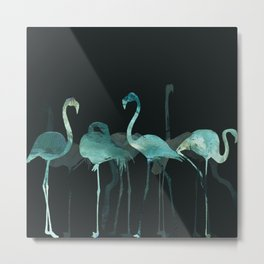 Cold Flamingos in the Night Metal Print