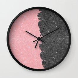 Pretty Girly Pink Black Faux Glitter Brushstroke Wall Clock