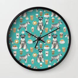 Schnauzer coffee dog breed pet art pure breed cafes pupuccino Wall Clock