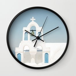 White Church with Blue Doors in Santorini, Greece Wall Clock