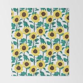 Sunny Sunflowers - White Throw Blanket