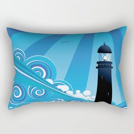 Blue stylized sea with big waves and lighthouse Rectangular Pillow