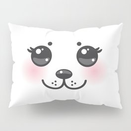 Kawaii funny albino animal white muzzle with pink cheeks and big black eyes Pillow Sham