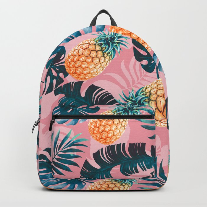 Pineapple and Leaf Pattern Backpack