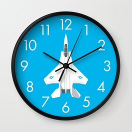 F-15 Eagle Supersonic Jet Aircraft - Cyan Wall Clock