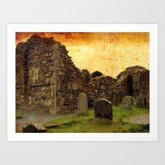 🔵 Ancient Irish Graveyard Ruins Art Print