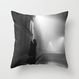Lovers in Paris, Midnight black and white photography - black and white photographs Throw Pillow