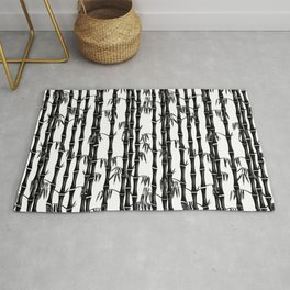 Bamboo Forest Pattern - White Black Grey Rug