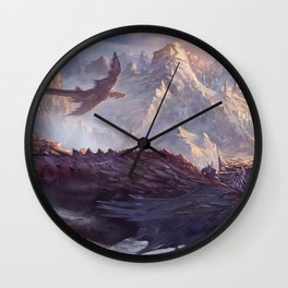 Phenomenal Armored Knights Riding Flying Dragons Ancient Kingdom Ultra HD Wall Clock