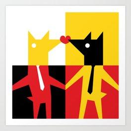 Bussines Kiss Art Print