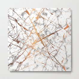 Marble Texture and Gold Splatter 039 Metal Print