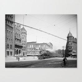 Empire State Express (New York Central Railroad) coming thru Washington Street, Syracuse, N.Y. Canvas Print