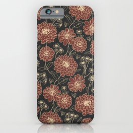 Floral pattern (zinnia, marigold, and daisy flowers) iPhone Case